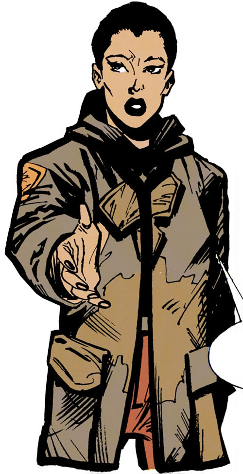 Renee Montoya - early (Batman ally) (DC Comics) in a surplus jacket
