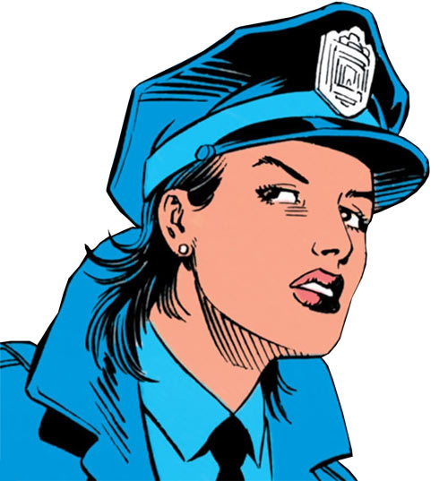 Renee Montoya - early (Batman ally) (DC Comics) face closeup in uniform