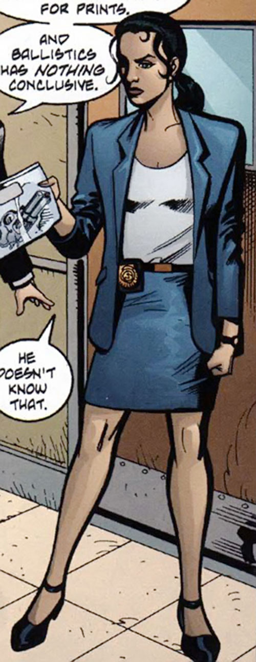 Renee Montoya (Batman ally) (DC Comics) during the early 2000s - in a suit with a skirt