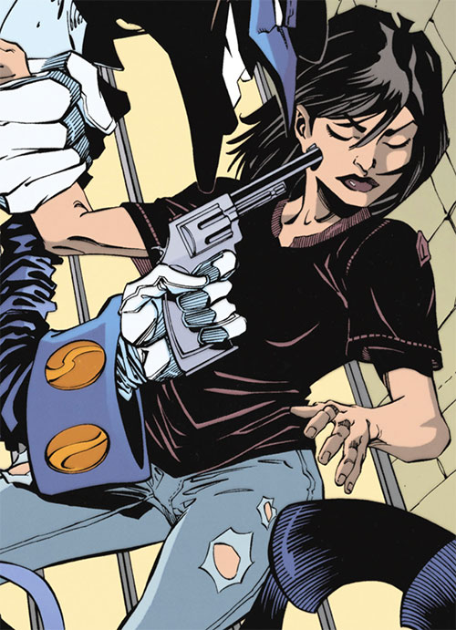 Renee Montoya (Batman ally) (DC Comics) during the early 2000s - threatened by the Tally Man