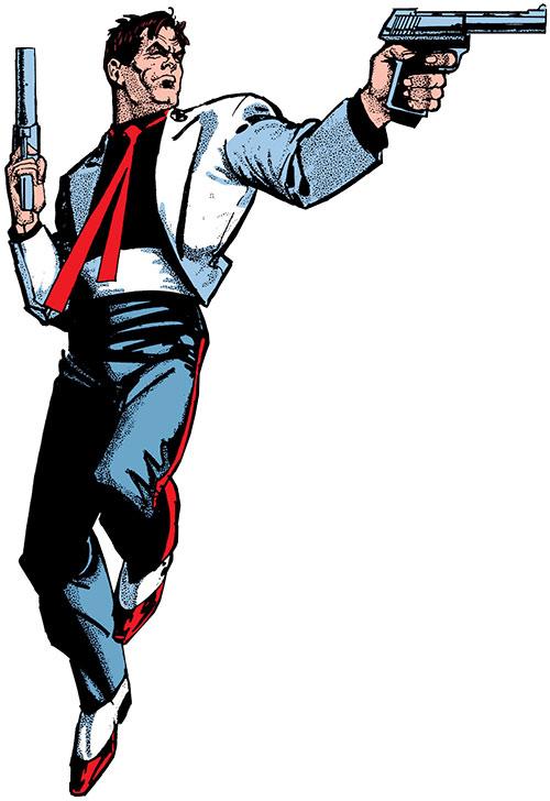 Reuben Flagg (Chaykin comics) in tricolour evening wear, dual-wielding pistols