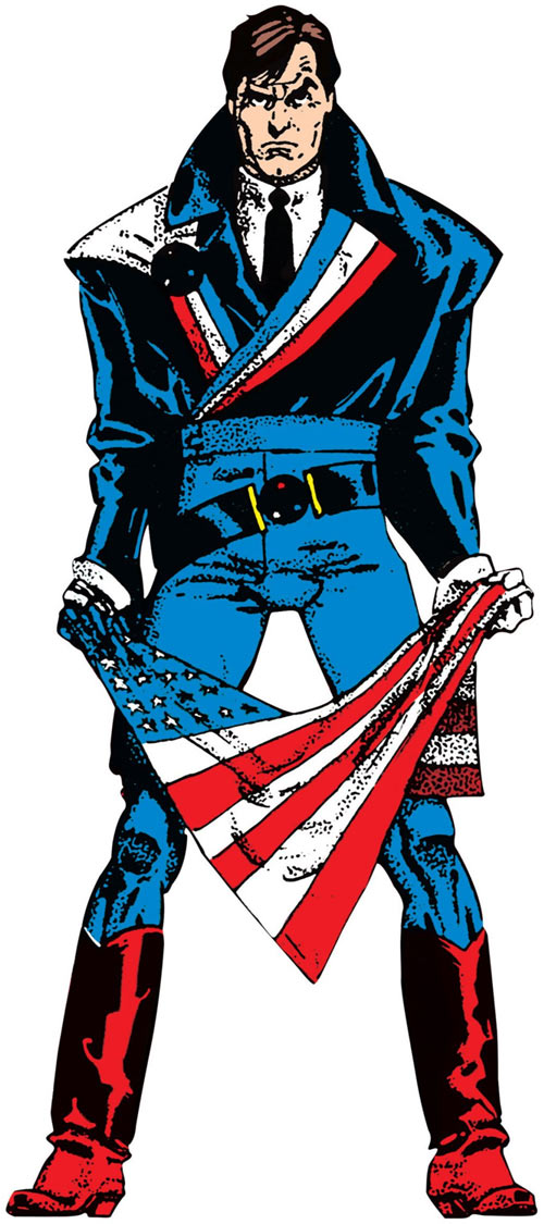 Reuben Flagg from Chaykin's American Flagg holding the US tricolour