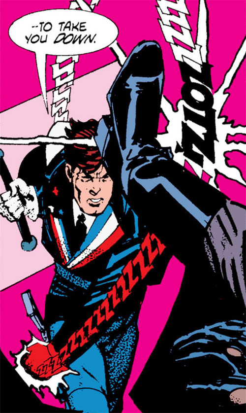 Reuben Flagg (Chaykin comics) punches with an electrified glove