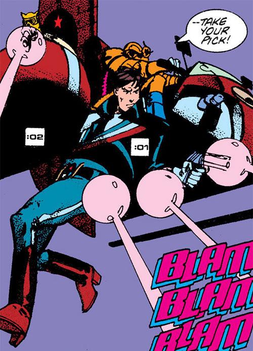 Reuben Flagg (Chaykin comics) shooting while hanging from an aircraft