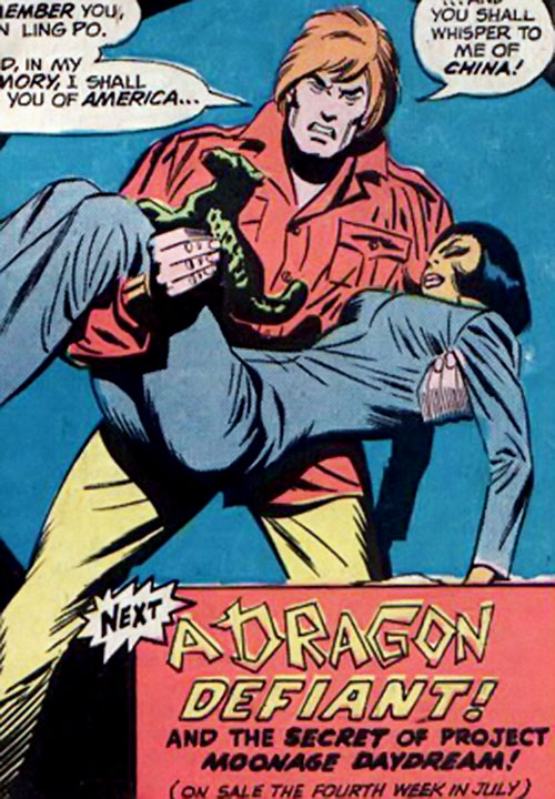 Richard Dragon (DC Comics) holding a Chinese woman and a jade statuette