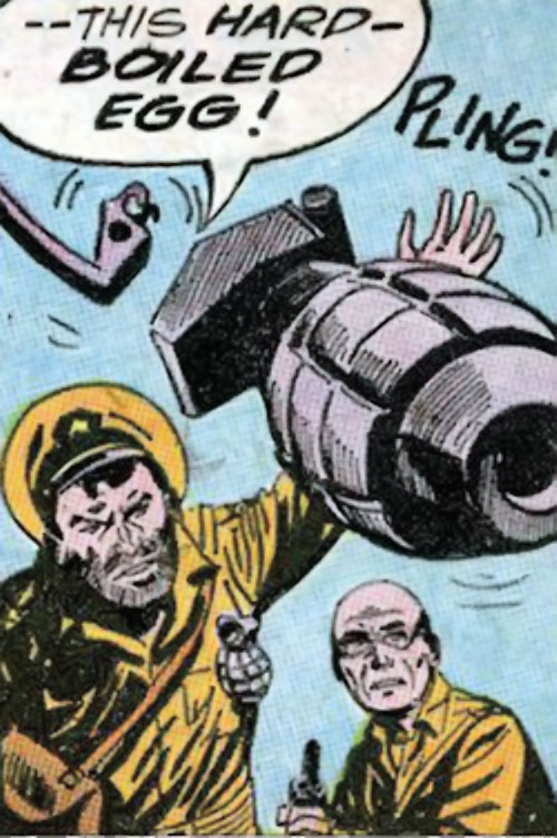 Rick Flag Sr. (Suicide Squad of World War 2) (DC Comics) (War that Time Forgot) throws a grenade