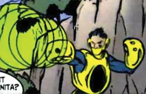 Riot of Heavy Mettle (New Warriors enemy) (Marvel Comics) firing a green sonic blast