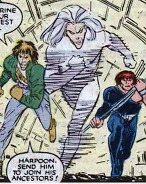 Riptide of the Marauders (X-Men enemy) (Marvel Comics) with Scrambler and Harpoon