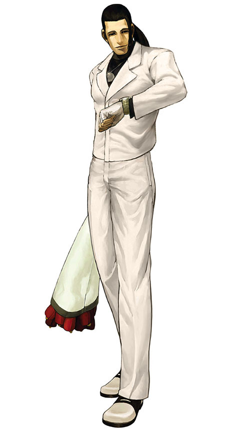 Robert Garcia (Fatal Fury / King of FIghters) in a white suit, with flowers