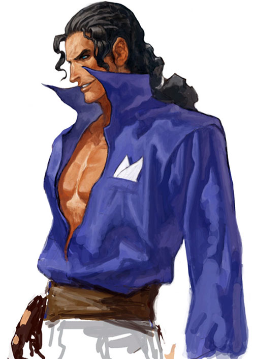 Robert Garcia (Fatal Fury / King of FIghters) with a violet shirt