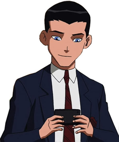 Robin (Young Justice animated series) in a school uniform