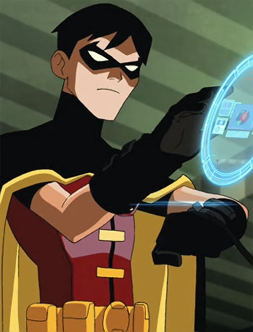 Robin (Young Justice animated series) using his wrist computer