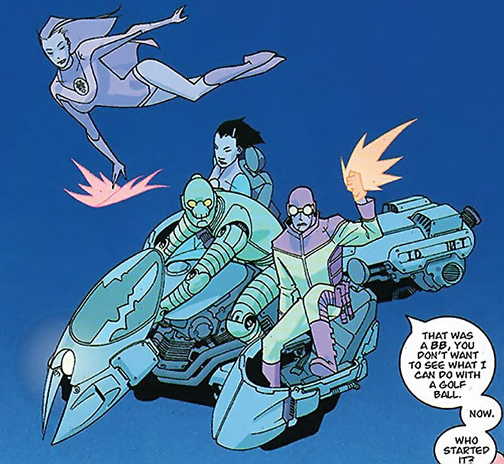 Robot flying a skycycle with Invincible allies