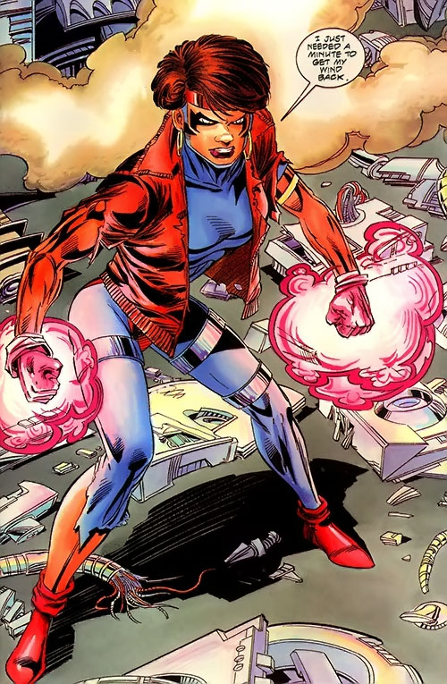 Rocket (Raquel Ervin) (Milestone Comics) ready for battle