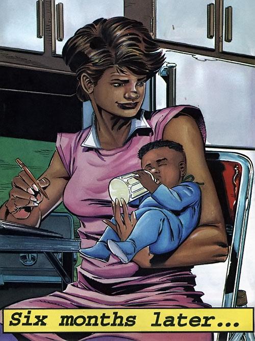 Rocket (Raquel Ervin) (Milestone Comics) and her baby