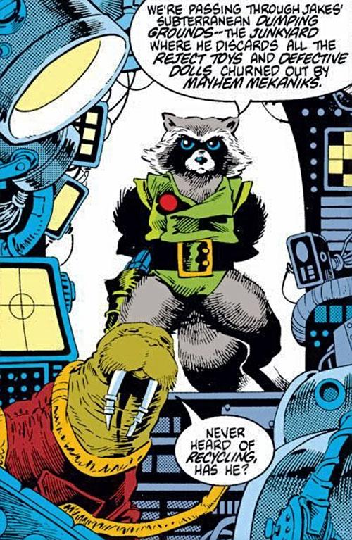 Rocket Raccoon (Marvel Comics) (Classic Mantlo) commanding his rocket