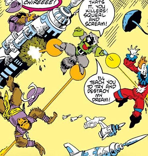 Rocket Raccoon (Marvel Comics) (Classic Mantlo) shooting clowns and monkeys