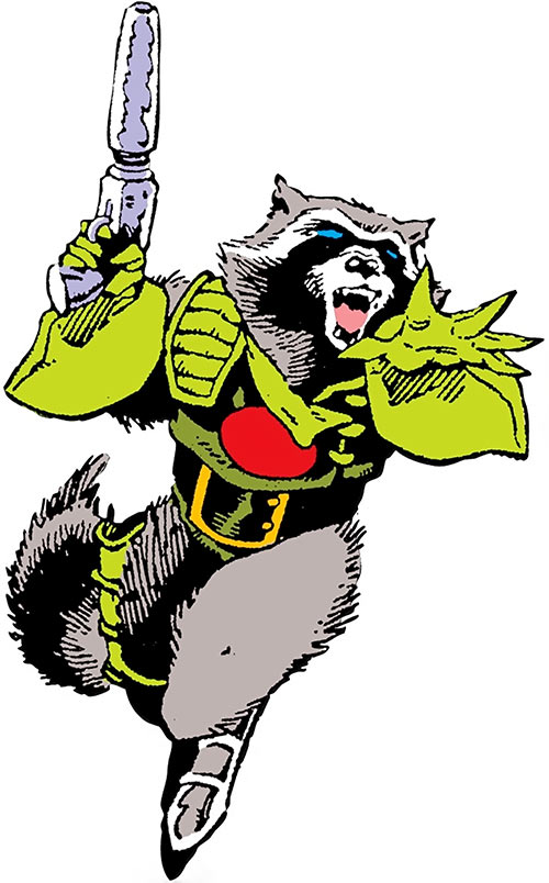 Rocket Raccoon (Marvel Comics) (Classic Mantlo) taking off with his jet boots