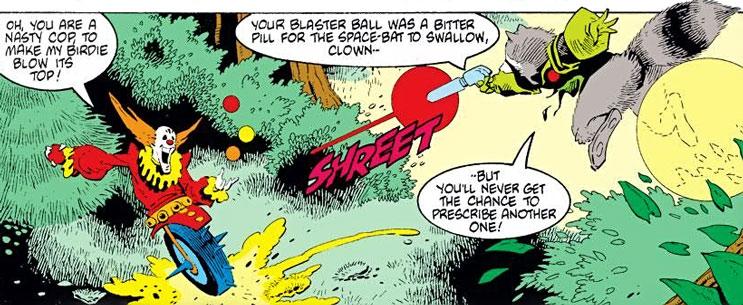 Rocket Raccoon vs. a one-wheeled clown