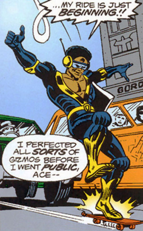 Rocket Racer (Spider-Man character) (Marvel Comics) with the black and gold costume