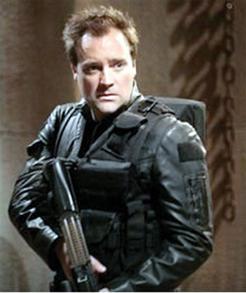 Rodney McKay (David Hewlett in Stargate Atlantis) with PDW and webbing