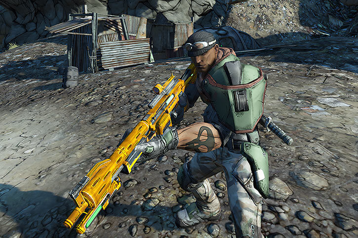 High-angle shot of Roland with an assault rifle