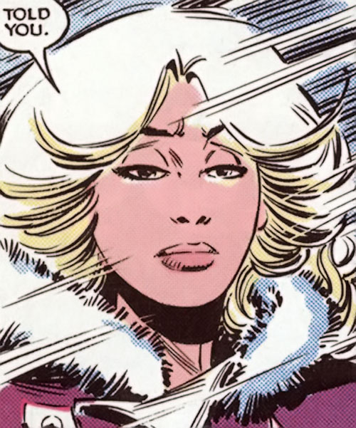 Roulette of the Hellions (New Mutants enemy) (Marvel Comics) face closeup in parka