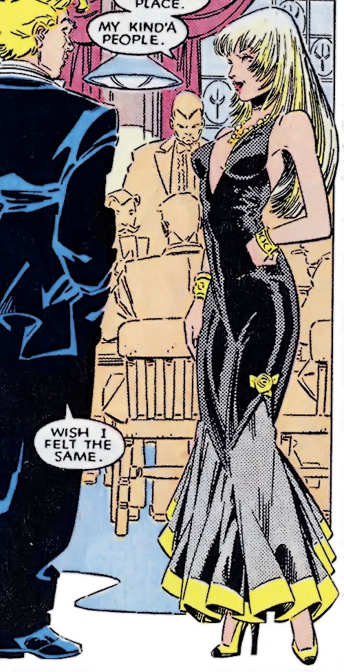 Roulette of the Hellions (New Mutants enemy) (Marvel Comics) in an evening dress