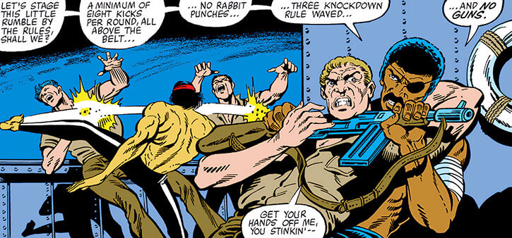 Rufus Carter and Shang Chi fight sailors