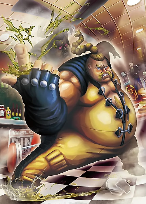 Rufus (Street Fighter) fighting in a fast food restaurant