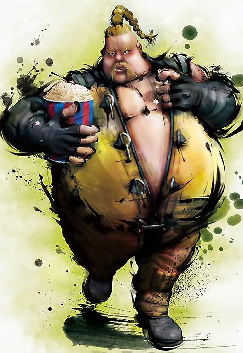Rufus (Street Fighter) eating popcorn