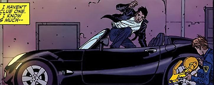 Rush jumps aboard Sam, his Pontiac Solstice