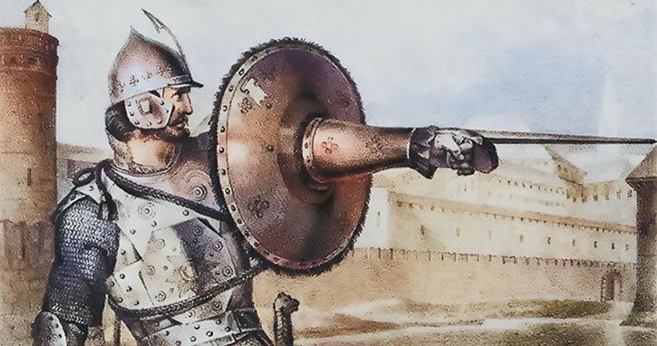 Medieval Russian built-in targa shield.