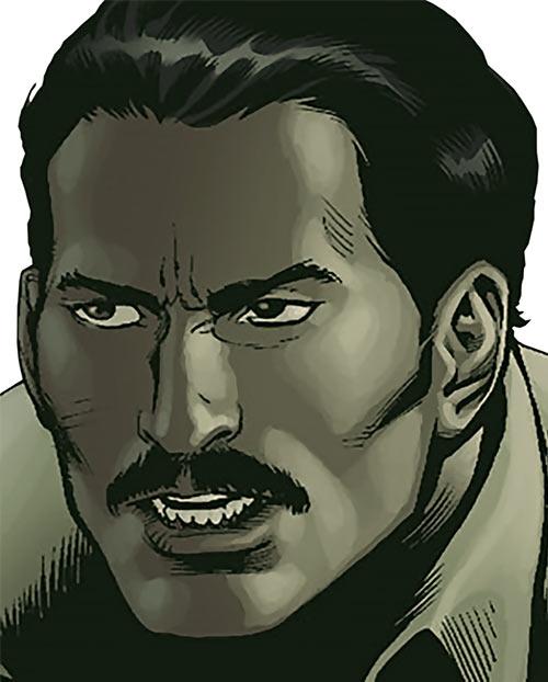 Rustam (Suicide Squad enemy) (DC Comics) face closeup desaturated