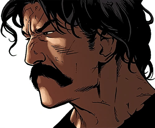 Rustam (Suicide Squad enemy) (DC Comics) face closeup with moustache