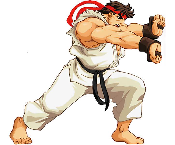 Ryu shooting a fireball