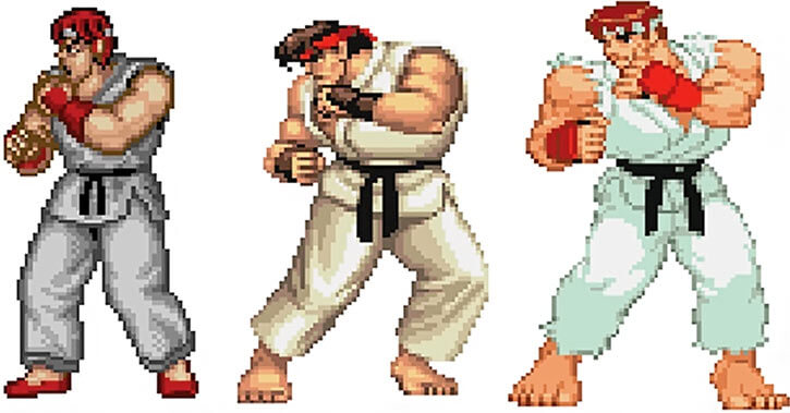 Gallery of early Ryu sprites
