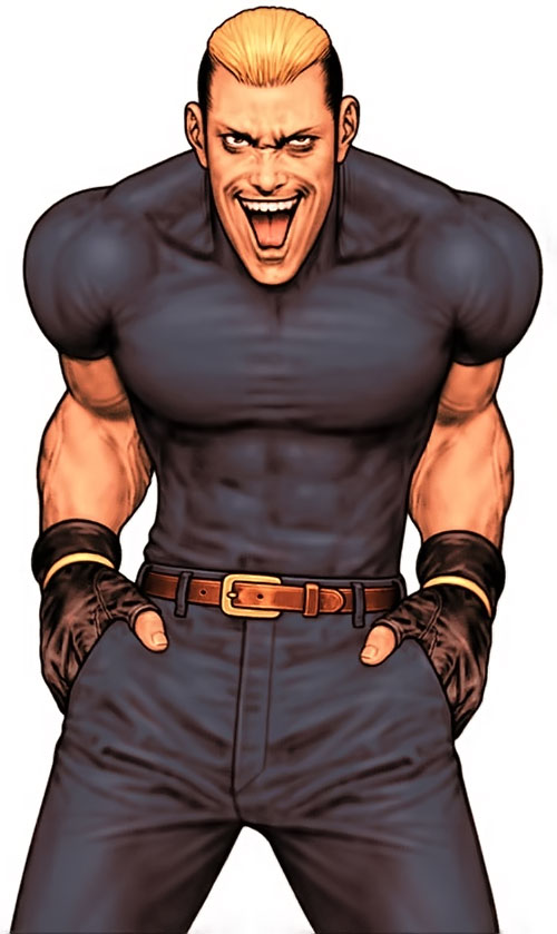 Ryuji Yamazaki (King of Fighters) with a crazy grin