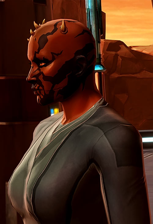 Star Wars the Old Republic -SWTOR - Female Zabrak Sith knight - Side view and scar