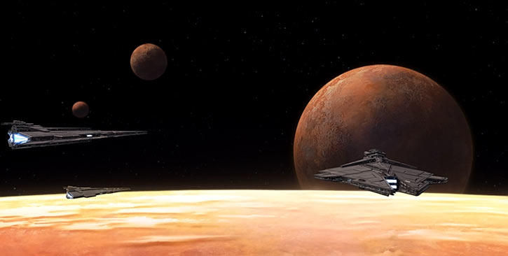 Star Wars the Old Republic -SWTOR - Imperial destroyers over a beige planet