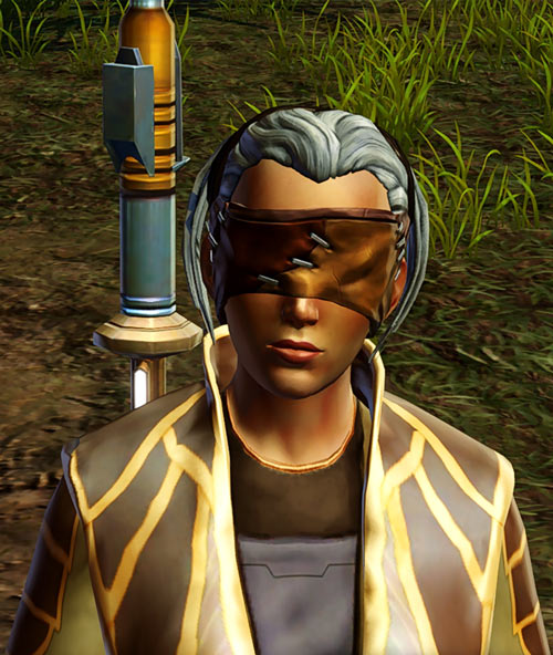 Star Wars Old Republic - Sabra Shulvu silent Jedi knight - Training sword over shoulder