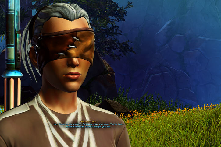 Star Wars Old Republic - Sabra Shulvu silent Jedi knight - Face closeup with grass and flowers