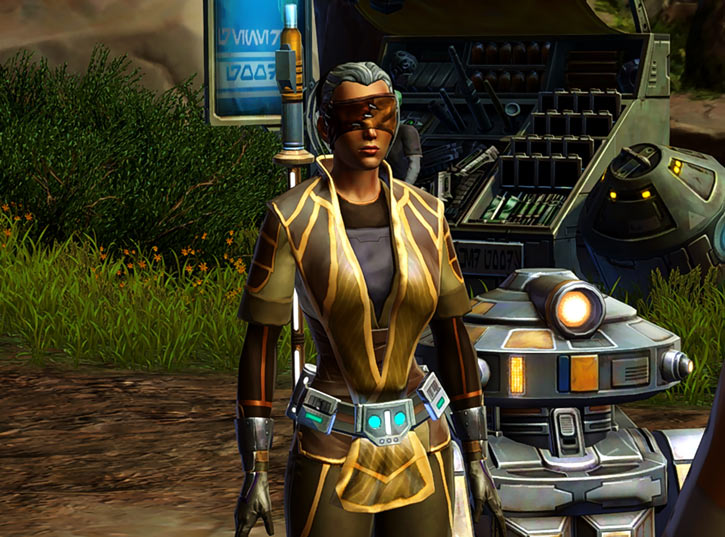 Star Wars Old Republic - Sabra Shulvu silent Jedi knight - With T7 droid and spare parts bins
