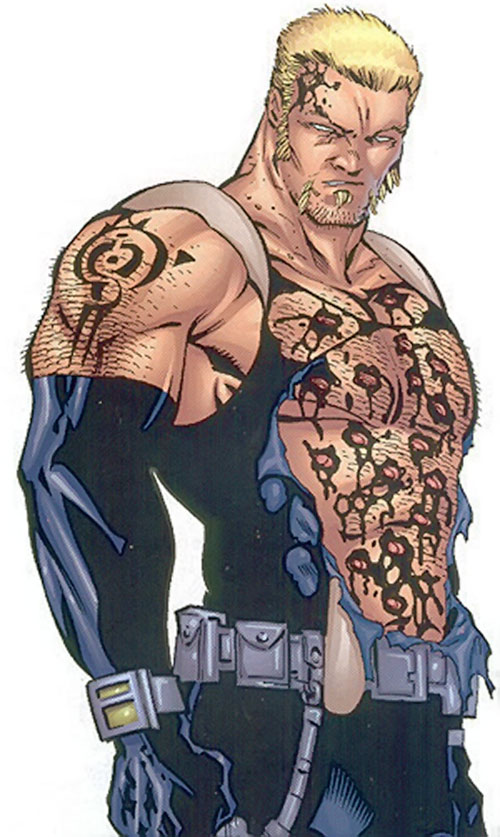 Sabretooth (Wolverine enemy) (Marvel Comics) shot up in a black uniform