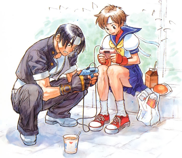 Sakura and Kyo playing a video game