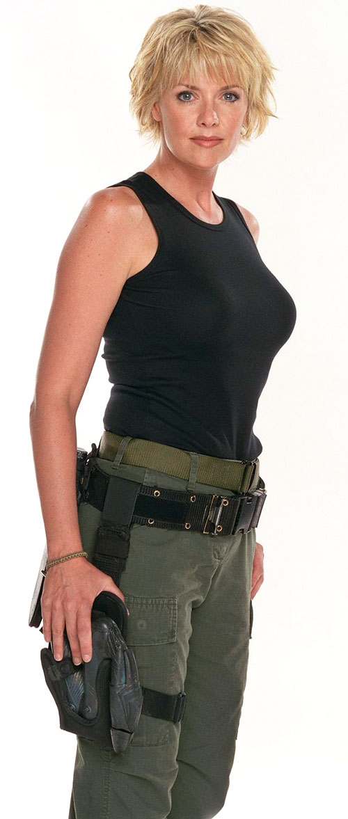 Samantha Carter (Amanda Tapping in Stargate SG-1) in a black tank top