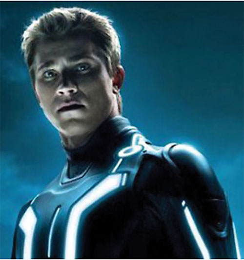 Sam Flynn (Garrett Hedlund in Tron Legacy) in his grid suit