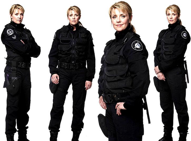 Samantha Carter (Amanda Tapping) with her black Atlantis uniform
