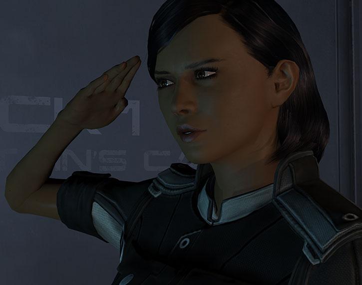Samantha Traynor saluting