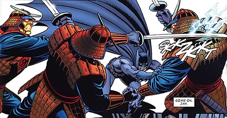 Three samuroids vs. Batman